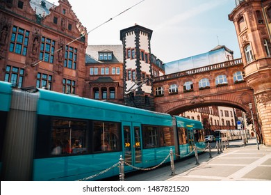 Frankfurt old town Standesamt Mitte and modern tram in Frankfurt, Germany