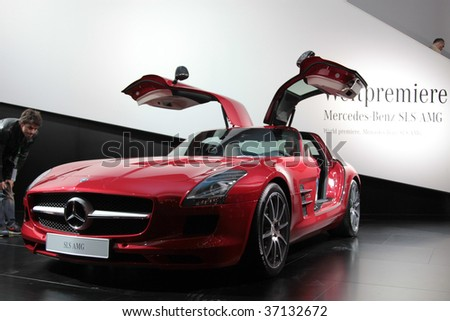 Frankfurt Sep 15 Mercedes Benz Sls Amg With Open Swing Wing Doors On