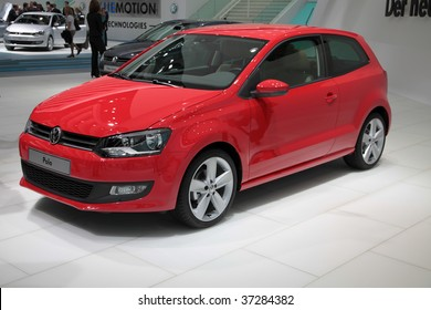 FRANKFURT - SEP 15: The new Volkswagen (VW) Polo in red  shown on 63rd IAA (Internationale Automobil Ausstellung) on September 15, 2009 in Frankfurt, Germany.