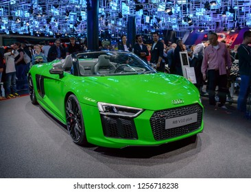 FRANKFURT - SEP 2017: Audi R8 V10 plus sports car at IAA Frankfurt Motor Show