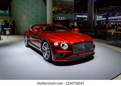 FRANKFURT - SEP 2017: Bentley New Continental GT luxury car at IAA Frankfurt Motor Show