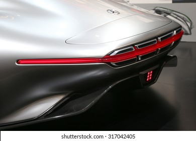 FRANKFURT - SEPT 15: back light of Mercedes Benz AMG Vision Gran Turismo shown at the 66th IAA (Internationale Automobil Ausstellung) on September 15, 2015 in Frankfurt, Germany.