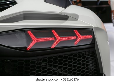 FRANKFURT - SEPT 15: Back light of Lamborghini Aventador LP 750-4 SV Roadster shown at the 66th IAA (Internationale Automobil Ausstellung) on September 15, 2015 in Frankfurt, Germany.