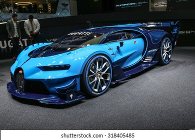 FRANKFURT - SEPT 15: Bugatti den Vision Gran Turismo shown at the 66th IAA (Internationale Automobil Ausstellung) on September 15, 2015 in Frankfurt, Germany.