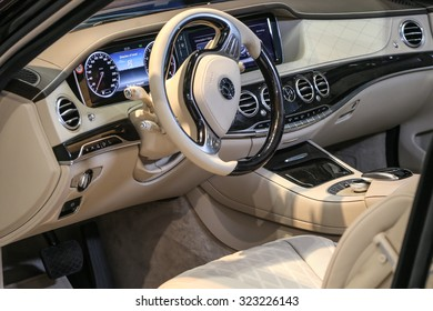 FRANKFURT - SEPT 15: Cockpit of Trasco Premium Limousine Mercedes Benz S 600L shown at the 66th IAA (Internationale Automobil Ausstellung) on September 15, 2015 in Frankfurt, Germany.