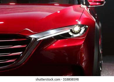 FRANKFURT - SEPT 15: Head light of Mazda Koeru shown at the 66th IAA (Internationale Automobil Ausstellung) on September 15, 2015 in Frankfurt, Germany.