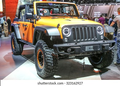 FRANKFURT - SEPT 15: Jeep Wrangler Unlimited Rubicon 2.8 CRD shown at the 66th IAA (Internationale Automobil Ausstellung) on September 15, 2015 in Frankfurt, Germany.