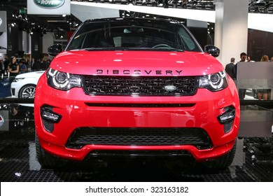 FRANKFURT - SEPT 15: Land Rover Discovery Sport shown at the 66th IAA (Internationale Automobil Ausstellung) on September 15, 2015 in Frankfurt, Germany.