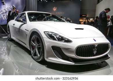 FRANKFURT - SEPT 15: Maserati Gran Turismo MC Stradale shown at the 66th IAA (Internationale Automobil Ausstellung) on September 15, 2015 in Frankfurt, Germany.