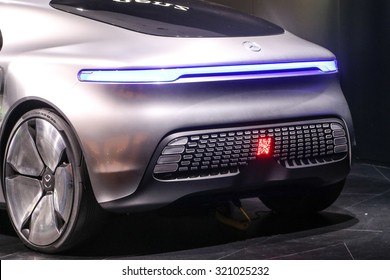 FRANKFURT - SEPT 15: Mercedes Benz F 015 Luxury in Motion Concept shown at the 66th IAA (Internationale Automobil Ausstellung) on September 15, 2015 in Frankfurt, Germany.