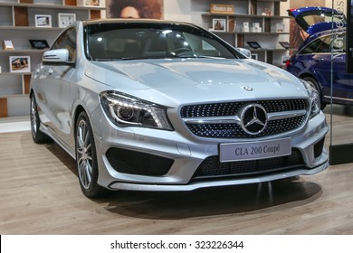 FRANKFURT - SEPT 15: Mercedes Benz CLA 200 Coupe shown at the 66th IAA (Internationale Automobil Ausstellung) on September 15, 2015 in Frankfurt, Germany.