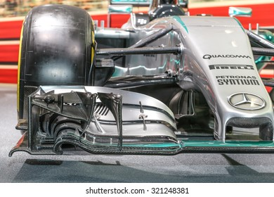 FRANKFURT - SEPT 16: Details of Mercedes AMG Petronas Formula 1 W06 shown at the 66th IAA (Internationale Automobil Ausstellung) on September 16, 2015 in Frankfurt, Germany.