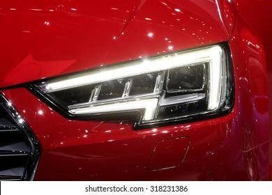 FRANKFURT - SEPT 16: head light of Audi A4 2.0 T quattro shown at the 66th IAA (Internationale Automobil Ausstellung) on September 16, 2015 in Frankfurt, Germany.
