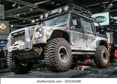 FRANKFURT - SEPT 16: Land Rover Defender Spectre shown at the 66th IAA (Internationale Automobil Ausstellung) on September 16, 2015 in Frankfurt, Germany.