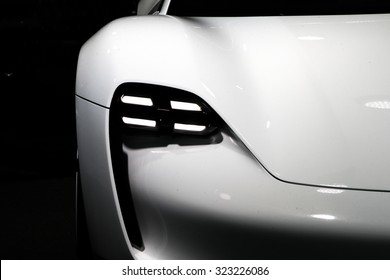 FRANKFURT - SEPT 16: Lights of Porsche Mission E Concept World Premiere shown at the 66th IAA (Internationale Automobil Ausstellung) on September 16, 2015 in Frankfurt, Germany.