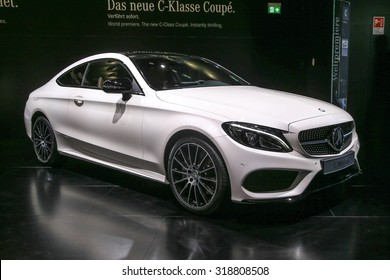 FRANKFURT - SEPT 16: Mercedes Benz C-Class Coupe shown at the 66th IAA (Internationale Automobil Ausstellung) on September 16, 2015 in Frankfurt, Germany.