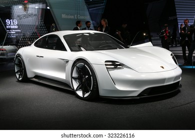 FRANKFURT - SEPT 16: Porsche Mission E Concept World Premiere shown at the 66th IAA (Internationale Automobil Ausstellung) on September 16, 2015 in Frankfurt, Germany.