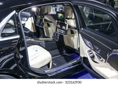 FRANKFURT - SEPT 16: Seat of Mercedes Brabus S-Class 900 shown at the 66th IAA (Internationale Automobil Ausstellung) on September 16, 2015 in Frankfurt, Germany.
