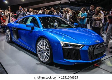 FRANKFURT - SEPT 2015: Audi R8 V10 presented at IAA International Motor Show on September 20, 2015 in Frankfurt, Germany