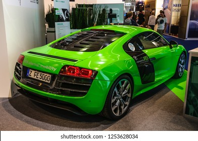 FRANKFURT - SEPT 2015: Audi R8 e-tron presented at IAA International Motor Show on September 20, 2015 in Frankfurt, Germany