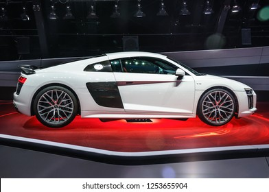 FRANKFURT - SEPT 2015: Audi R8 V10 plus presented at IAA International Motor Show on September 20, 2015 in Frankfurt, Germany