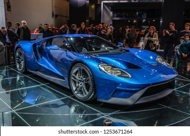 FRANKFURT - SEPT 2015: Ford GT supercar concept presented at IAA International Motor Show on September 20, 2015 in Frankfurt, Germany