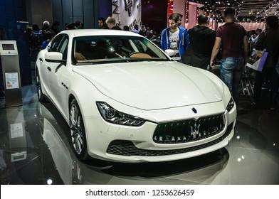 FRANKFURT - SEPT 2015: Maserati Ghibli presented at IAA International Motor Show on September 20, 2015 in Frankfurt, Germany