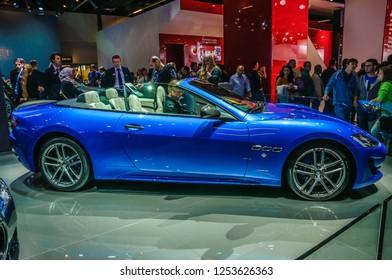 FRANKFURT - SEPT 2015: Maserati GranTurismo MC Centennial Edition Coupe presented at IAA International Motor Show on September 20, 2015 in Frankfurt, Germany