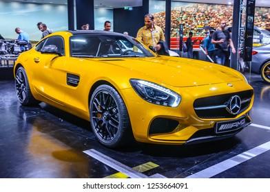 FRANKFURT - SEPT 2015: Mercedes-Benz SLS AMG presented at IAA International Motor Show on September 20, 2015 in Frankfurt, Germany