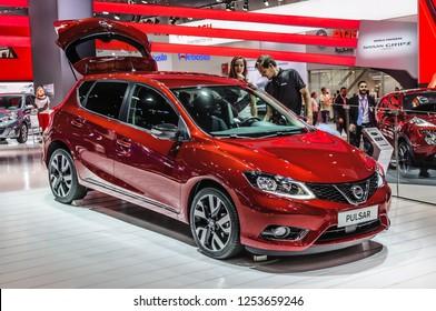 FRANKFURT - SEPT 2015: Nissan Pulsar presented at IAA International Motor Show on September 20, 2015 in Frankfurt, Germany
