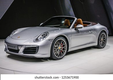 FRANKFURT - SEPT 2015: Porsche 911 991 Carrera S cabrio presented at IAA International Motor Show on September 20, 2015 in Frankfurt, Germany