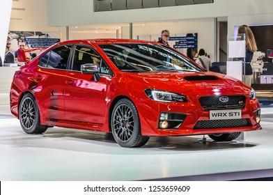 FRANKFURT - SEPT 2015: Subaru WRX STI presented at IAA International Motor Show on September 20, 2015 in Frankfurt, Germany