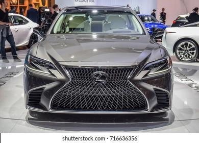 FRANKFURT - SEPTEMBER 12, 2017: The 2018 Lexus LS 500h, the full hybrid version of Lexus' new flagship sedan, is on display at 67th IAA, Frankfurt.