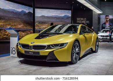 FRANKFURT - SEPTEMBER 12, 2017: BMW i8 is on display at 67th IAA, Frankfurt. The BMW i8 is a plug-in-hybrid that brings together the advantages of electric motor and combustion engine technologies.