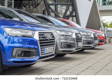 FRANKFURT - SEPTEMBER 12, 2017: Four Audi Q7 parked outside at 67th IAA, Frankfurt. The Audi Q7 is a full-size luxury crossover SUV of the German manufacturer Audi.