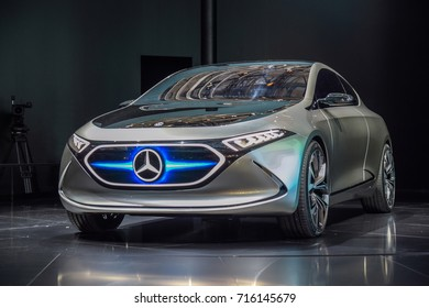 FRANKFURT - SEPTEMBER 12, 2017: Mercedes-Benz Concept EQA is on display at 67th IAA, Frankfurt. Featuring electric motors at the front and at the rear axles, the electric car has power over 200 kW.
