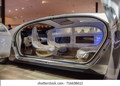 FRANKFURT - SEPTEMBER 12, 2017: Mercedes-Benz F 015 Luxury self-driving concept car is on display at 67th IAA, Frankfurt. Photo of the interior with both doors opened.