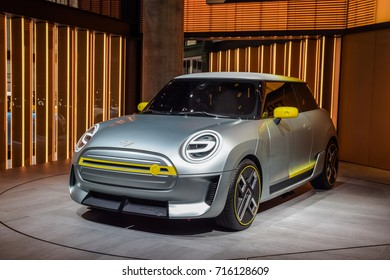 FRANKFURT - SEPTEMBER 12, 2017: MINI Electric Concept is on display at 67th IAA, Frankfurt. The Concept features the iconic design and customary go-kart feeling of the MINI with electric mobility.