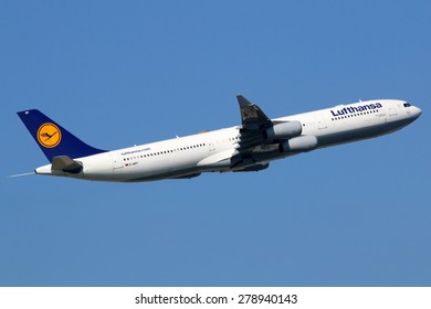 FRANKFURT - SEPTEMBER 17: Lufthansa Airbus A340 taking off on September 17, 2014 in Frankfurt. Lufthansa is the German flag carrier and Europe's largest airline. Frankfurt Airport is its biggest hub.