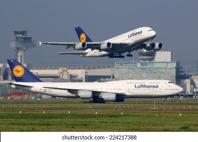 FRANKFURT - SEPTEMBER 17: Lufthansa aircraft taking off on September 17, 2014 in Frankfurt. Lufthansa is the German flag carrier and Europe's largest airline. Frankfurt Airport is its biggest hub.