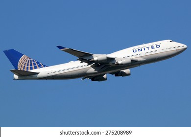 FRANKFURT - SEPTEMBER 17: United Airlines Boeing 747-400 airplane taking off on September 17, 2014 in Frankfurt. United Airlines is the world's largest airline with 138 million passengers.