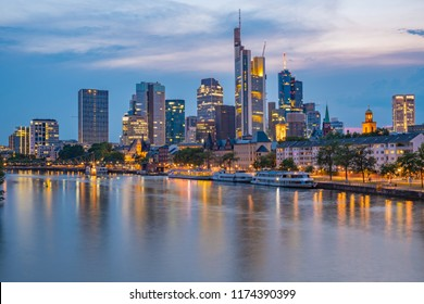 Frankfurt Skyline during the Blue Hour - View of the bank district - Frankfurt am Main, Hessen, Germany at Night