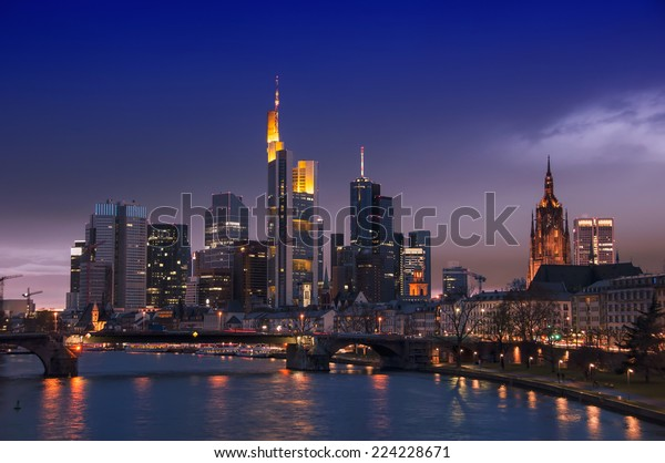 Frankfurt Skyline, Germany at night with famous skyscrapers