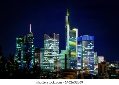 Frankfurt skyline at night. Beautifully lit and processed with effect. blue look
