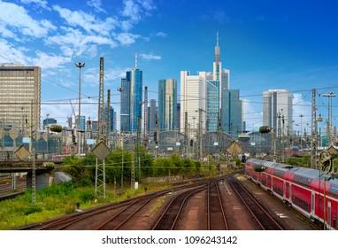 Frankfurt skyline from railway station in Germany