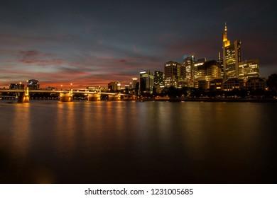 Frankfurt skyline seen from the Mainufer
