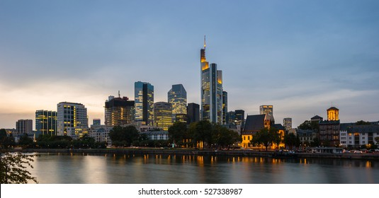 Frankfurt Skyline with skyscraper buildings at dusk, germnay