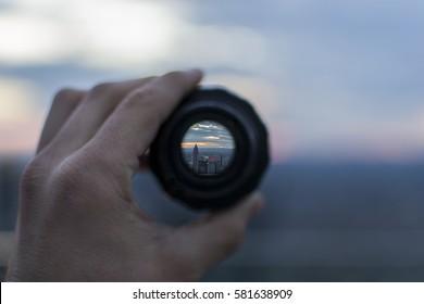 Len Frankfurt looking through lens stock photo royalty free 667367641