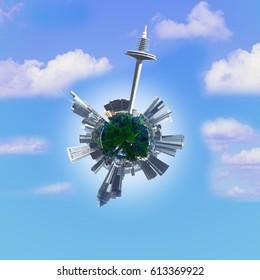 Frankfurt tiny planet. Circular economy