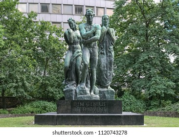 FRANKFURT-AM-MAIN, GERMANY - MAY 11, 2018: Beethoven monument at the Taunusanlage park. The monument was designed by the German sculptor Georg Kolbe and unveiled on June 16, 1951.
